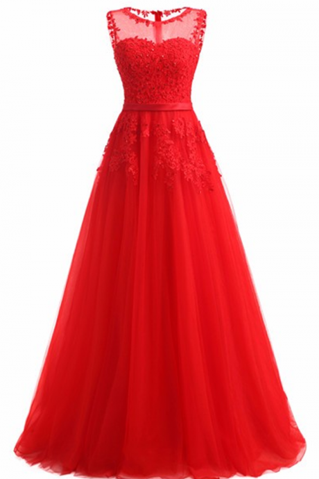 Red Evening Dress 2017 Formal Dresses Tulle Appliques Long Party Dress New Coming Vestido De Festa Longo Imported Party Dress JA259