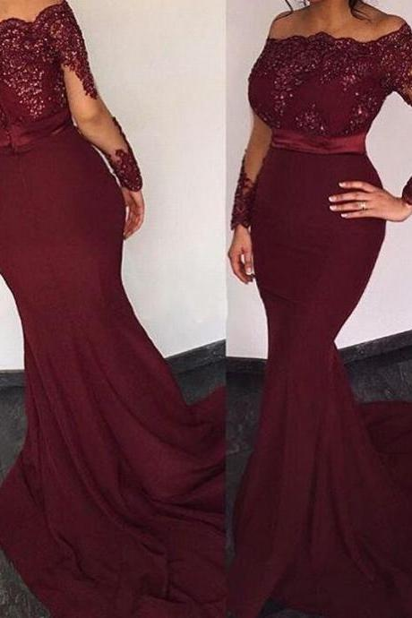 Burgundy Satin Long Sleeves Elie Saab Prom Dresses Off the shoulder Appliques Evening Dresses Long Mermaid Party Dress Long Sexy Prom Dresses Long Sleeves Mermaid Formal Gowns LF12