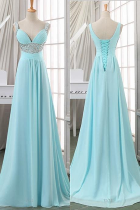 New Arrived Prom Dress Sky Blue Prom Dress Light Blue Prom Dress Lace Up Back Prom Dress Straps Prom Dress Sweetheart Prom Dress Chiffon Prom Dress Long Prom Dress Empire Waist Prom Dress Evening Dress Party Dress LF18