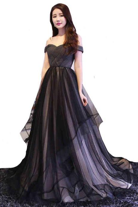 Women Black Wedding Dress Off Shoulder Tulle Bridal Gown Lace-up Custom Size C32
