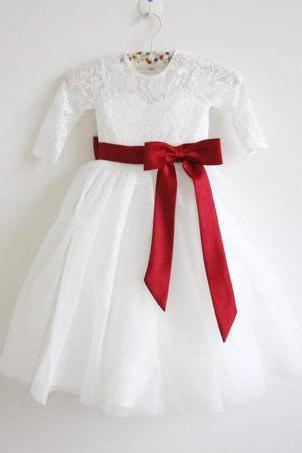 Long Sleeves Light Ivory Flower Girl Dress Wine Sash Bows Lace Tulle Flower Girl Dress With Burgundy Sash/Bows D3