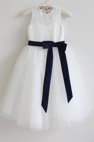 Flower Girl Dress Navy Baby Girls Dress Lace Tulle Flower Girl Dress With Navy Sash/Bows Sleeveless Floor-length D20