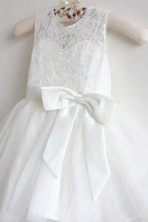 Flower Girl Dress Baby Girls Dress Lace Tulle Flower Girl Dress With Bows Sleeveless Knee-length D21