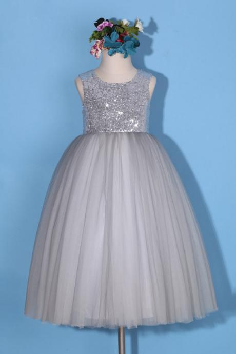 Flower girl dress/gray pageant dress/silver sequin dress/gray flower girl dress/silver gray dress/backless dress/gray tulle girl dress D32