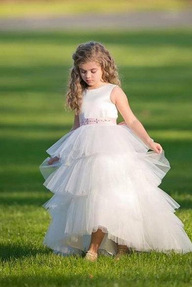 High/Low Satin and Tulle Flower girl dress with made to match rhinestone belt D44