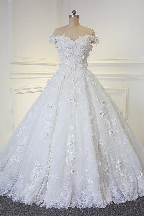 Amazing Beautiful Flowers Handmade Wedding Dress With Off The Shoulder Straps Bridal Dress JD23