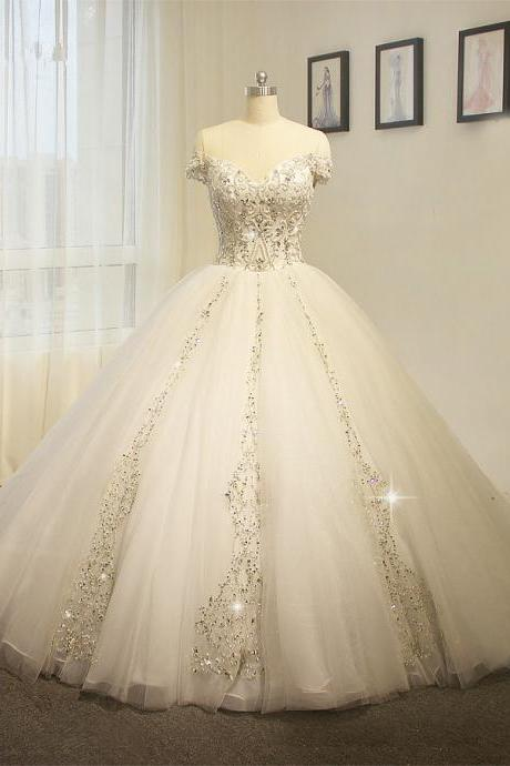 Real Work Beading Embroidery Big Train Wedding Dress JD53
