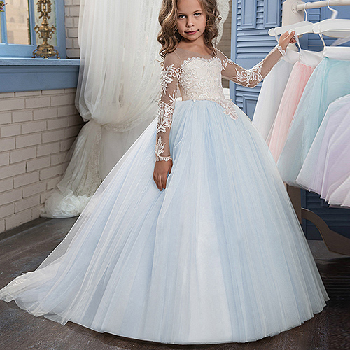 New Applique Long Sleeve Ball Gown Cute Flower Girl Dress Kids Brithday Party Dress Princess Dress For Wedding Formal Occasion