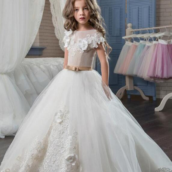 New Applique Bow Ball Gown Cute Flower Girl Dress Kids Brithday Party Dress Princess Dress For Wedding Formal Occasion