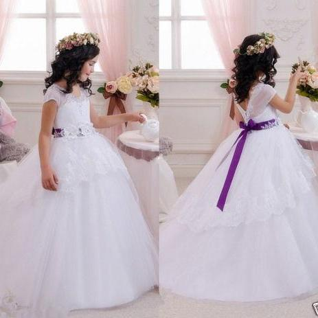 Lace Flower Girl Dresses Wedding Bridesmaid Birthday Party Formal Recital Gown
