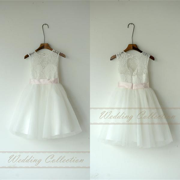 Lace Tulle Flower Girl Dress Without Sash and Bow W71