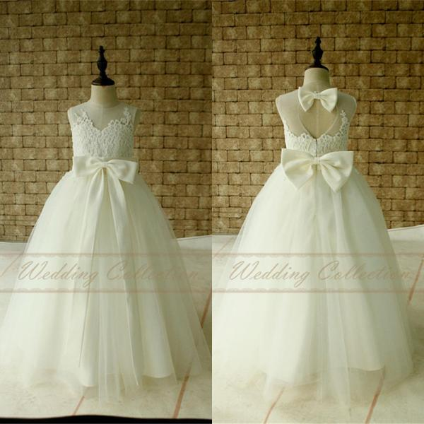 Ivory Lace Flower Girl Dress Floor Length with Ivory Sash and Bow Birthday Party Dress W76