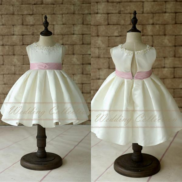 New Satin Flower Girl Dress With Pearls Neckline and Pink Waistband W85