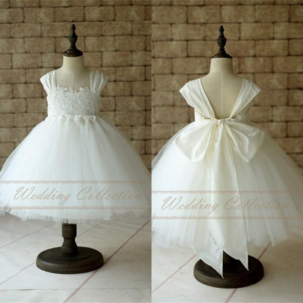 Flower Girl Dress Cap Sleeves Tulle Ball Gown Knee Length with Big Bow W81