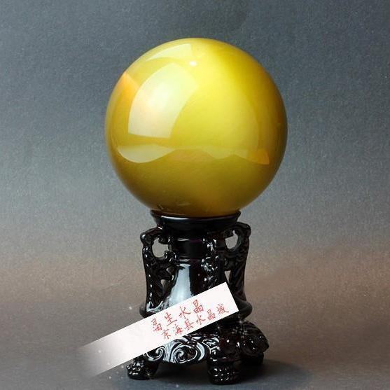 40mm Natural Yellow Cat Eyes Quartz Magic Crystal Healing Ball Sphere (No Stand) LH-4