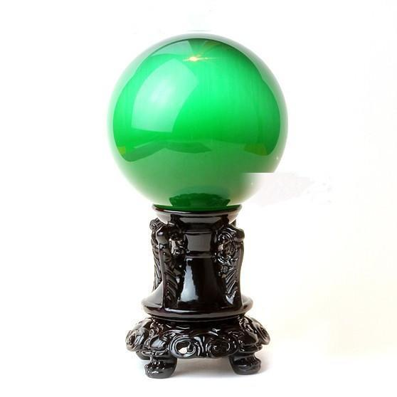100mm Natural Green Cat Eyes Quartz Magic Crystal Healing Ball Sphere (No Stand) LH-8