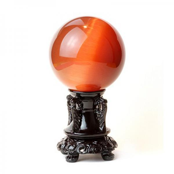 100mm Natural Red Cat Eyes Quartz Magic Crystal Healing Ball Sphere (No Stand) LH-10