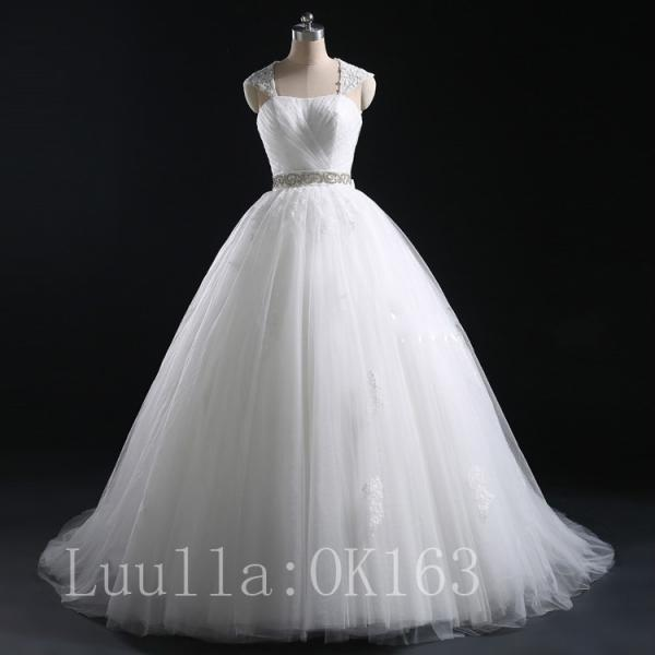 Women Fashion White/Ivory Cap Shoulder Wedding Dress Bridal Gown Lace Dress Long Train Prom Dress KK7