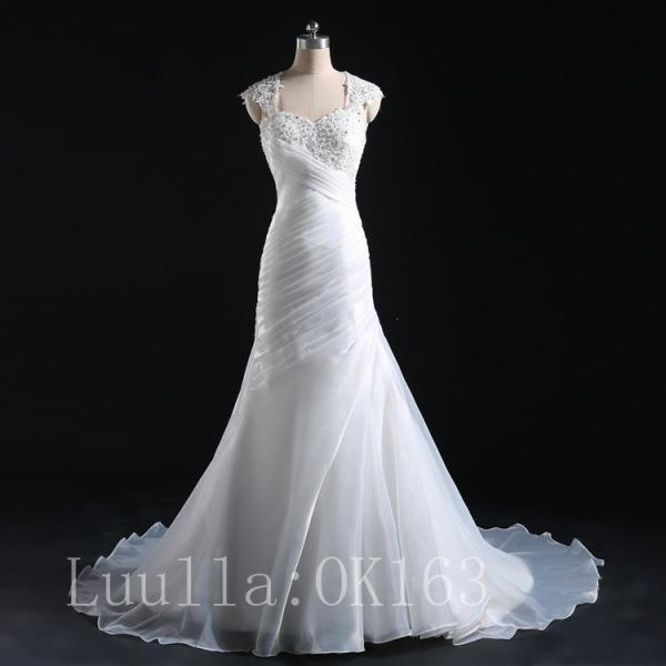 Women Fashion White/Ivory Mermaid Wedding Dress Bridal Gown Organza Dress Long Train Strapless Prom Dress KK10