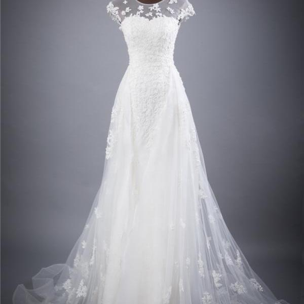 A-line Wedding Dress with Cap Sleeves and Lace Appliqués